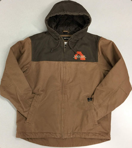 Two tone canvas hooded jacket