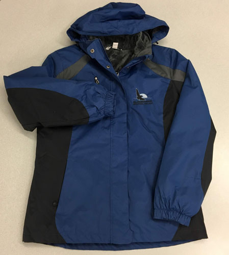 Blue and black winter hooded jacket